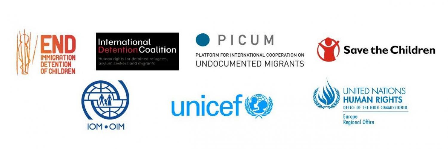 Logos d'organisations partenaires de l'UNICEF : Save the Children, OIM, Picum...