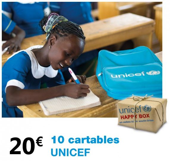 Happy Box UNICEF, 10 cartables pour 20 euros